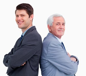image of businessman and his son